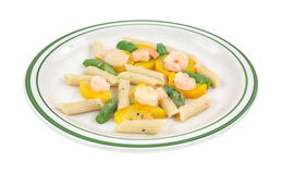 Cooked shrimp with zucchini and asparagus Royalty Free Stock Photos