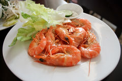 Cooked Shrimps. A photo showing a local Vietnamese dish, boiled shrimps with pepper salt Stock Images