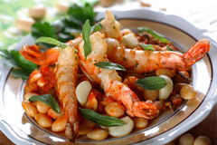 Cooked shrimps with bean Royalty Free Stock Image