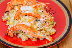 Cooked shrimps or prawns with fried rice Royalty Free Stock Image