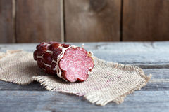 Cooked smoked sausage, Salami Stock Image