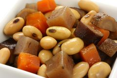 Cooked soy beans and vegetables Royalty Free Stock Photo