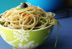 Cooked spaghetti. Served in a colourful bowl Stock Image