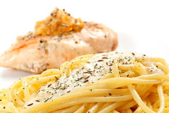 Cooked spaghetti  cream sauce with grilled chicken breast. Stock Photo