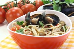 Cooked Spaghetti with mussels Royalty Free Stock Image