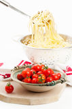 Cooked Spaghetti Pasta With Tomatoes Royalty Free Stock Photos