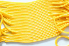 Cooked spaghetti in a row. On white background Stock Image