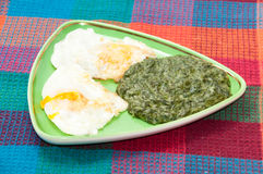 Cooked spinach and fried eggs served on a plate Stock Photo