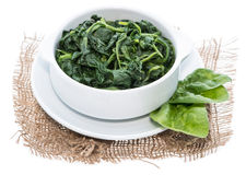 Cooked Spinach isolated on white Royalty Free Stock Images