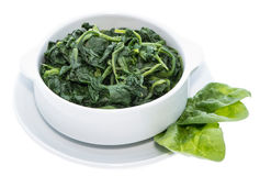 Cooked Spinach isolated on white Stock Images