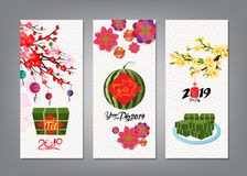 Cooked square glutinous rice cake and blossom, banner. Vietnamese new year. Translation T�t Lunar new year. Cooked square glutinous rice cake and blossom stock illustration