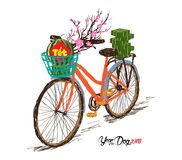 Cooked square glutinous rice cake and blossom, bicycle. Vietnamese new year. Translation. `Tết`: Lunar new year stock illustration