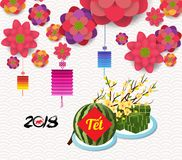 Cooked square glutinous rice cake and blossom, Vietnamese new year. Translation. `Tết` : Lunar new year royalty free illustration