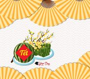 Cooked square glutinous rice cake, Vietnamese new year. Translation. `Tết` : Lunar new year royalty free illustration