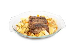 Cooked steak with potato Stock Photography