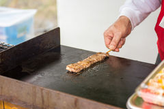 Cooked steak on stick Royalty Free Stock Images