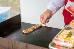 Cooked steak on stick Stock Photo