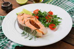 Cooked on steam salmon steak with vegetables. Dietary menu. Proper nutrition Royalty Free Stock Images