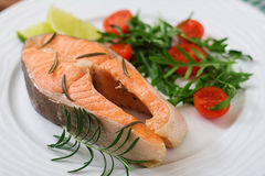 Cooked on steam salmon steak with vegetables. Dietary menu. Proper nutrition Royalty Free Stock Photos