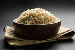 Cooked or steamed Brown basmati rice served in bowl royalty free stock images