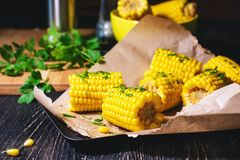 Cooked sweet corn. stock photo