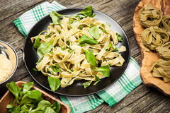 Cooked tagliatelle on a plate Royalty Free Stock Image