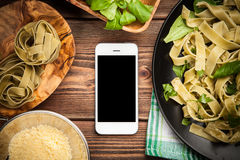 Cooked tagliatelle on a plate Stock Photo