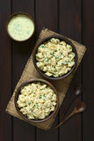 Cooked Tortellini with Parsley and Cream Sauce Stock Image