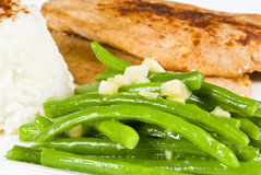 Cooked Turkey Breasts Meat and Green Beans Stock Images