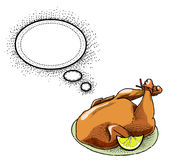 Cooked turkey-100. Cartoon image of cooked turkey. An artistic freehand picture Stock Image