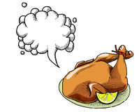 Cooked turkey-100. Cartoon image of cooked turkey. An artistic freehand picture. With speech bubble Royalty Free Stock Photography