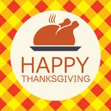Cooked turkey for happy thanksgiving day card. vector. Cooked turkey for happy thanksgiving day card. symbol of prepared turkey bird on checkered autumn Royalty Free Stock Photos