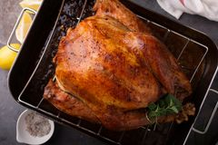 Free Cooked Turkey Ready For Carving Royalty Free Stock Photos - 104879668