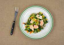 Cooked TV dinner of salmon and vegetables. Top view of a cooked TV dinner of salmon with carrots and spinach on pasta with fork Stock Photo