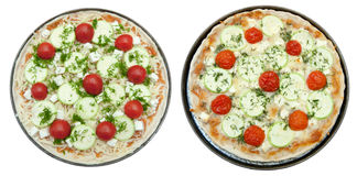 Cooked and uncooked pizza with goat cheese Royalty Free Stock Photography