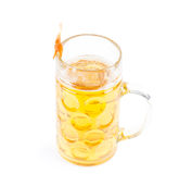 Prawn on a glass of beer Stock Images