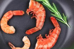 Cooked unshelled shrimps on frying pan. Stock Image