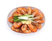 Cooked unshelled shrimps isolated on white Stock Photos
