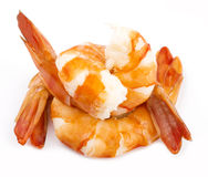 Cooked unshelled tiger shrimps Royalty Free Stock Photo