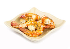 Cooked unshelled tiger shrimps Royalty Free Stock Image