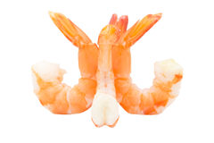 Cooked unshelled tiger shrimps isolated on white background Stock Photos
