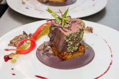 Cooked veal tenderloin. Slow cooked veal tenderloin with morelle mushrooms sauce, red cabbage puree and potatoes gratin Stock Image