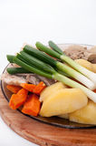 Cooked vegetable and meat on the plate Stock Photography