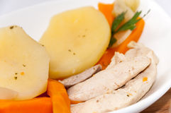 Cooked vegetables with chicken meat Royalty Free Stock Images
