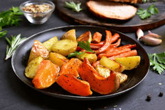 Cooked vegetables in frying pan. Close up view Stock Photo