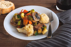 Cooked vegetables mix on white plate Stock Image