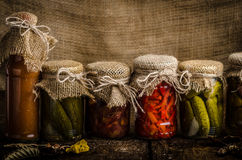 Cooked vegetables, pickles, homemade ketchup Stock Images