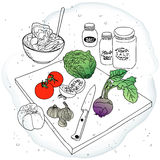Cooked vegetables. Salad ingredients on cutting board Royalty Free Stock Photography