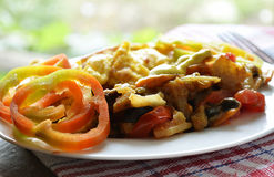 Cooked vegetables and scrambled eggs Royalty Free Stock Photo