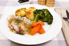 Cooked Welsh Lamb shoulder Royalty Free Stock Images